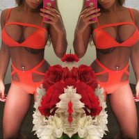 HOLLOW OUT HIGH WAIST BIKINI