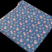 """Vintage Blue Pink Rose Fabric 44""""x75.5"""" Floral Pattern Butterfly Drapery Fabric Retro Quilting Sewing Fabric Material Textiles Crafting"""