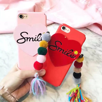 Korea New Love Heart Smile Phone Case Hard Plastic FurBall Tasel Case for Iphone 7 7plus 6 6s 6plus Case Cover Free Shipping