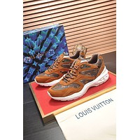 LV Louis Vuitton Men's Leather Trail Low Top Sneakers Shoes
