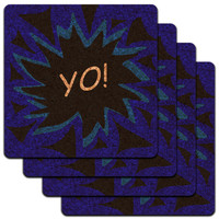 Yo Hello How's It Going Low Profile Cork Coaster Set