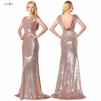 Ruijia Gold Sequins Mermaid Scoop Neck Backless Long Bridesmaid Dresses 2016 Real Image Wedding Party Gown