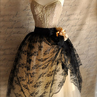 Mlle. Chantilly lace tulle skirt. Black lace over champagne tulle.