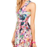 Ink Print Deep V-neck Sleeveless Mini Skater Dress