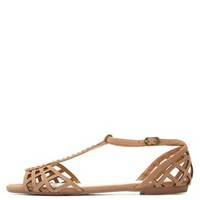 Bamboo Cut-Out T-Strap Flat Sandals by Charlotte Russe - Natural
