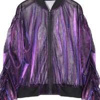Iridescent Sheer Bomber Jacket - 2 Colors