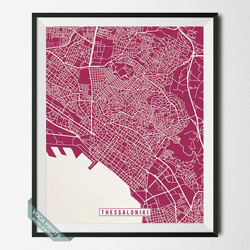 Thessaloniki Print, Greece Poster, Thessaloniki Poster, Thessaloniki Map, Greece Print, Street Map, Greece Map, Wall Art