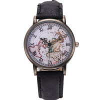 Black Retro Map Leather Strap Roman Numerals Quartz Wrist Watch for Women