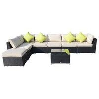 Outsunny 8 pc Outdoor Rattan Sectional Patio Set – Black/Khahi