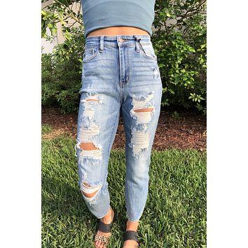 Carly Boyfriend Relaxed Jeans - Light wash