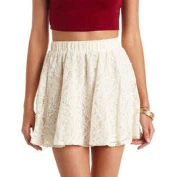 High-Waisted Lace Skater Skirt by Charlotte Russe - Ivory