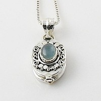 Aquamarine Sterling Silver Poison Pendant