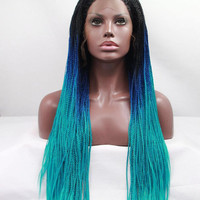 USA. Fast Shipping. long blue ombre braided lace front wig.  natural Hair line.