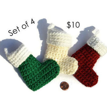 4 Set Mini Stocking Handmade Crochet Christmas Ornament Crocheted Gifts Boot @MystifyGifts #christmasornament #christmasstocking #stocking