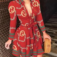 Gucci new style long-sleeved V-neck sling fashion sexy printed ladies dress
