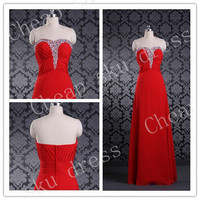 Stylish A-line Sweetheart Chiffon Sexy Zipper Beads Long Bridesmaid Dress Party Dress Evening Dress Prom Dress Formal Dress 2014