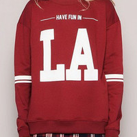 Red Letter Print Long Sleeve Sweatshirt