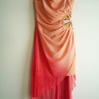 Juniors TEEZE ME Wedding Special Occasion Ombre Dress Coral Pink Dress sz 11