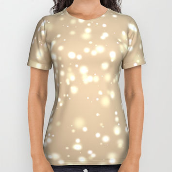 Store special ! Couples T-shirt All over print T-shirt Short sleeves T shirts with print of light spots in distance  Matrix of white dots