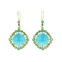 Cabochon Turquoise Earrings with Emeralds - Yellow Gold  by Andrea Fohrman