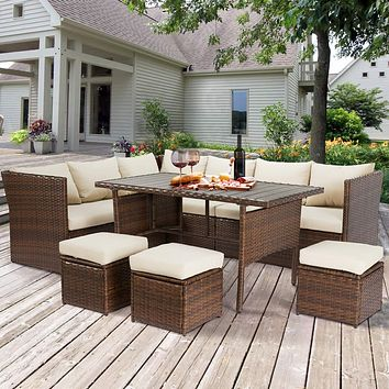 U-MAX Patio Furniture Sets 7 Pieces Outdoor Conversation Set All Weather Wicker Sectional Sofa Couch Dining Table Chair with Ottoman (Beige) Brown