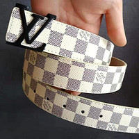 LV Tide brand men and women classic retro checkerboard smooth buckle belt White
