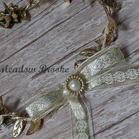 GOLD HALO, leaf, well dressed wolf, m2m, newborn, baby girl. ivory, vintage, victorian, rose, photo, Easter, fancy headband, tie back, girl
