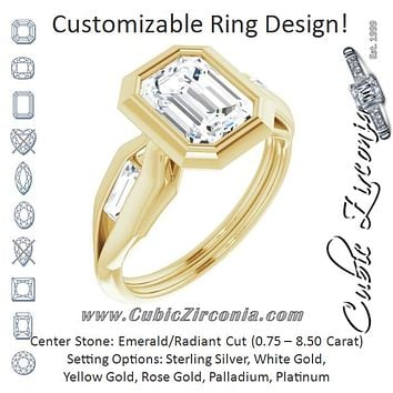 Cubic Zirconia Engagement Ring- The Claudelle (Customizable Bezel-set Radiant Cut Design with Wide Split Band & Tension-Channel Baguette Accents)