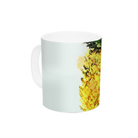 "Oriana Cordero ""Slice of Summer"" White Yellow Ceramic Coffee Mug"