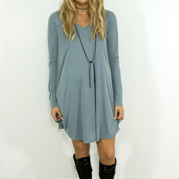 Night In Belgium Slate Blue Long Sleeve Solid Dress With V-Neck & Pockets