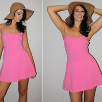 Vintage 70s Bubble Gum Pink PLAYSUIT / Beach, Pool Coverup / One Piece Swimsuit / Full Skirt / Summer Bathing Suit by Gabar / Size Med-Large