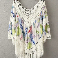 Green Floral Print Cut Out Fringed Poncho Top