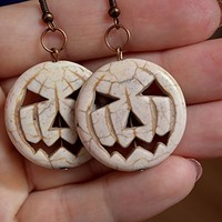 Halloween earrings Pumpkin gemstone earring harvest Fall autumn wedding hippie thanksgiving jewelry gothic Halloween costume steampunk pumpkins Jack o Lantern spirit witchy gift spooky
