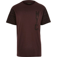 River Island MensRed NYC contrast sleeve t-shirt