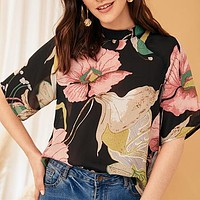 Multicolor Stand Collar Botanical Print Blouse Top Women Half Sleeve Keyhole Back Casual Workwear Tops and Blouses