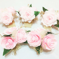 Blush and gold paper Peony corsage, Mother's corsage, Pearl wrist corsage, Pin on corsage, Blush wedding corsages, Blush Prom corsage