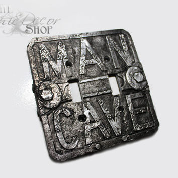 MAN CAVE, Light Switch Cover, Garage Diamond Plate, Black and Silver