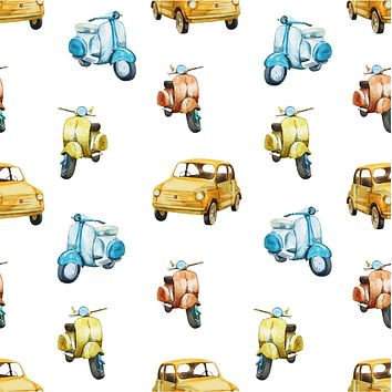 Italian Retro Scooter Car Multicolored Wallpaper Reusable Removable Accent Wall Interior Art (wal047)