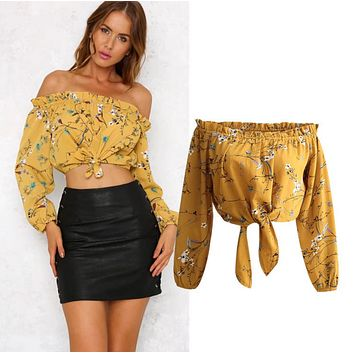 Fashion new women's sexy lace shoulder strapless long-sleeved yellow shirt top