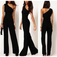 Fashion Women One Shoulder Long Jumpsuit Playsuit Romper Pant Trouser Overalls