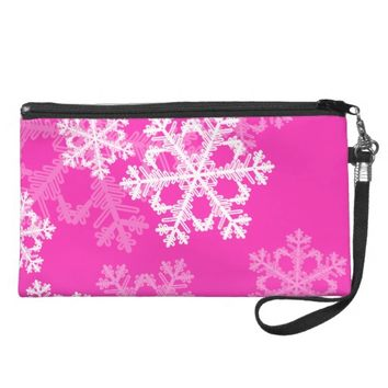 Cute pink and white Christmas snowflakes Wristlet Purse