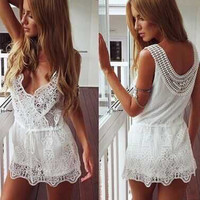 Summer Women's Fashion V-neck Sexy Backless Lace Patchwork One Piece Dress [4970282948]
