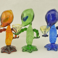2014 Green G spot Smoking Pipes Alien glass pipe Alien pipe glass bong wapter pipe high quality beautiful design safety delivery packing