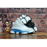 Kids Air Jordan 13 Retro White/blue/gray Sneaker Shoe