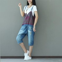 Yesno PA4 Women Jeans Cropped Pants Overalls Jumpsuits Rompers 100% Cotton Hand Painted Ripped Poled Casual Loose Fit