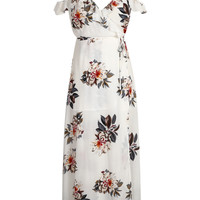 Multicolor V-neck Floral Lace Up Back Side Split Maxi Dress