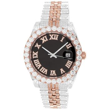 Two-Tone 40mm Presidential Steel Roman Dial Band Watch