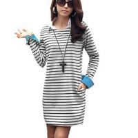 Ladies Sweet Round Neck Long Sleeve Roll Up Cuffs Striped Shift Dress