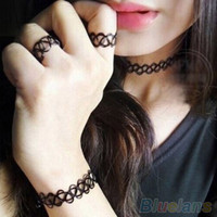 New Fashion Vintage Stretch Tattoo Ring Bracelet Choker Necklace Jewelry Set  1TZ5