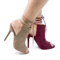 Adele229 by Wild Diva, Women / Ladies High Heel Peep Toe Open Back Lace Up Ankle Bootie Sandal